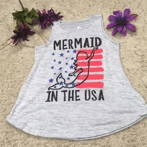 Justice Mermaid in the USA Girls Tank Top Size 8